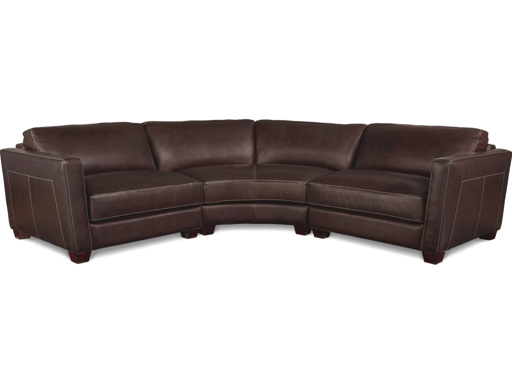 La-Z-Boy Allerton Three Piece Curved Leather Sectional Sofa ...