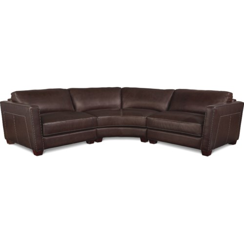 Curved Sofa Sectional Leather: La-Z-Boy Allerton Three Piece Curved Leather Sectional