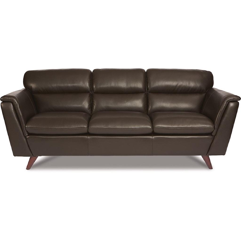 La Z Boy Arrow Mid Century Modern Leather Sofa Morris Home Sofas