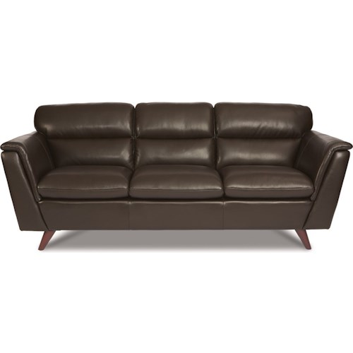 La Z Boy Arrow Mid Century Modern Leather Sofa