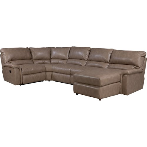 La z boy aspen five piece reclining sectional sofa with for 5 piece sectional sofa with chaise