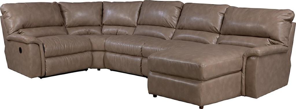 La Z Boy Aspen Five Piece Reclining Sectional Sofa With Las  ~ Five Piece Sectional Sofa