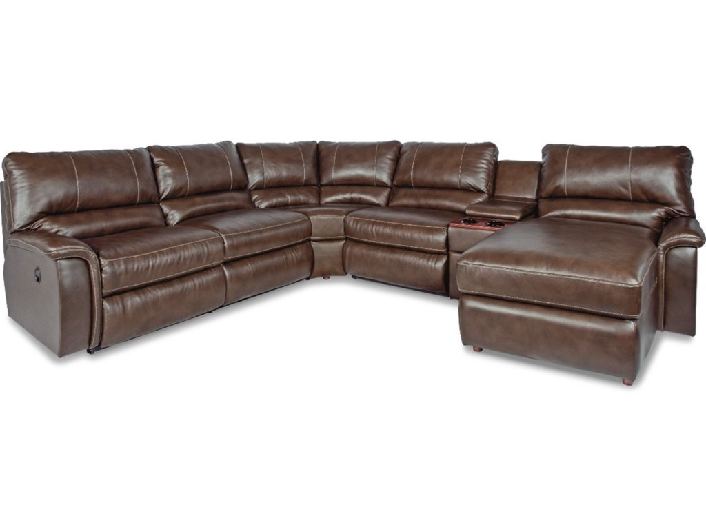 La Z Boy Aspen Six Piece Reclining Sectional Sofa With Right