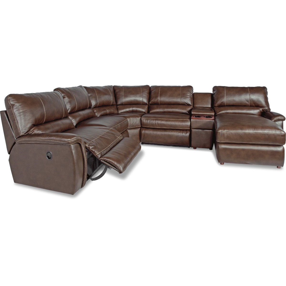 La Z Boy Aspen Six Piece Reclining Sectional Sofa With Right Arm Chaise And Cupholders Conlin S Furniture Reclining Sectional Sofas