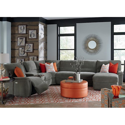 La-Z-Boy ASPEN Seven Piece Reclining Sectional Sofa with Cupholders