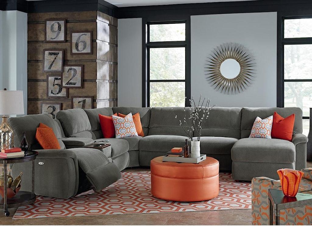 La Z Boy Aspen Seven Piece Reclining Sectional Sofa With  ~ Red Reclining Sectional Sofa