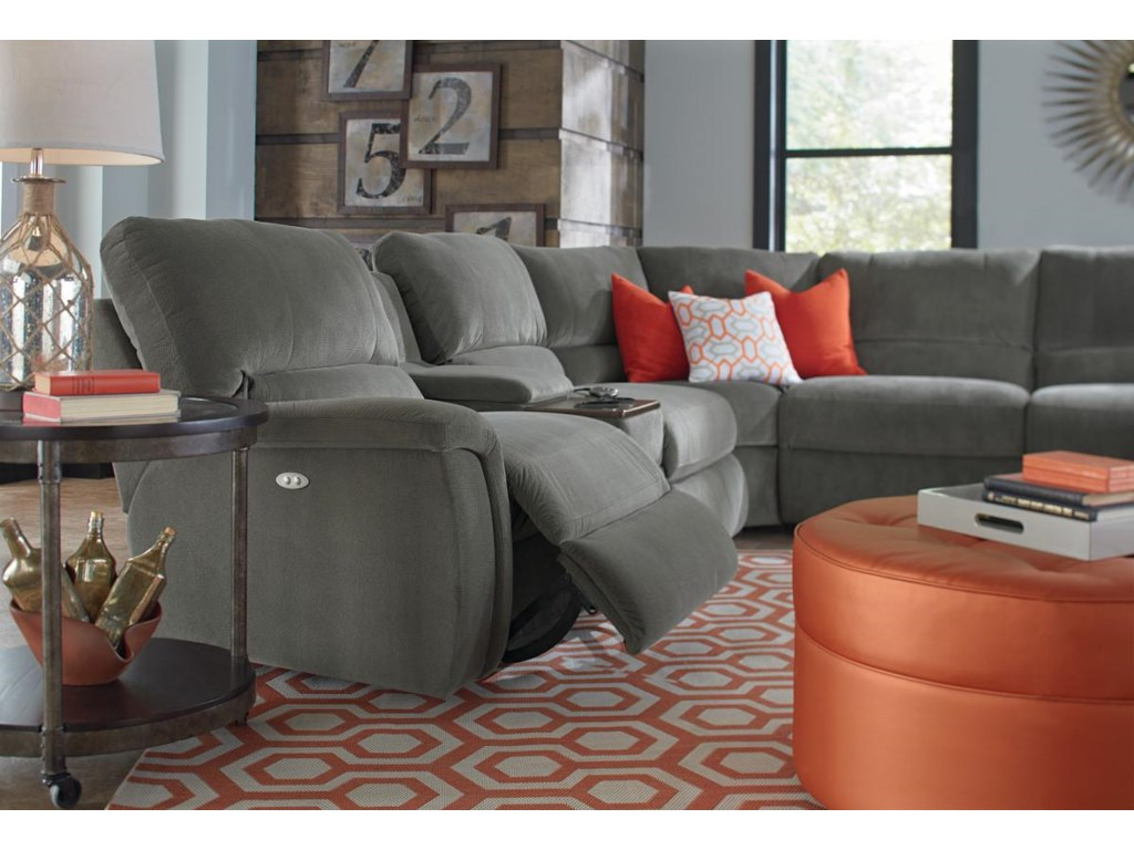 LaZBoy ASPEN Seven Piece Reclining Sectional Sofa With Cupholders - La z boy chaise sofa