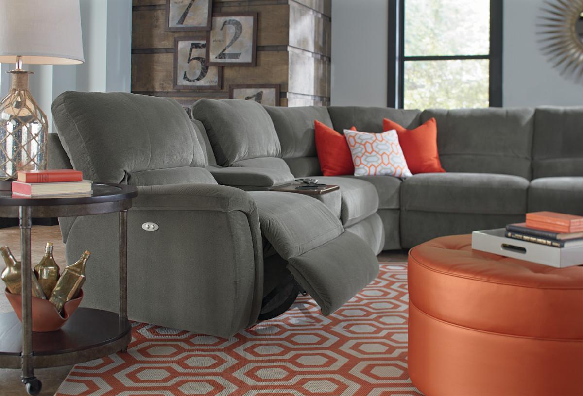 ... La Z Boy ASPEN7 Pc Reclining Sectional Sofa W/ Cupholders ...