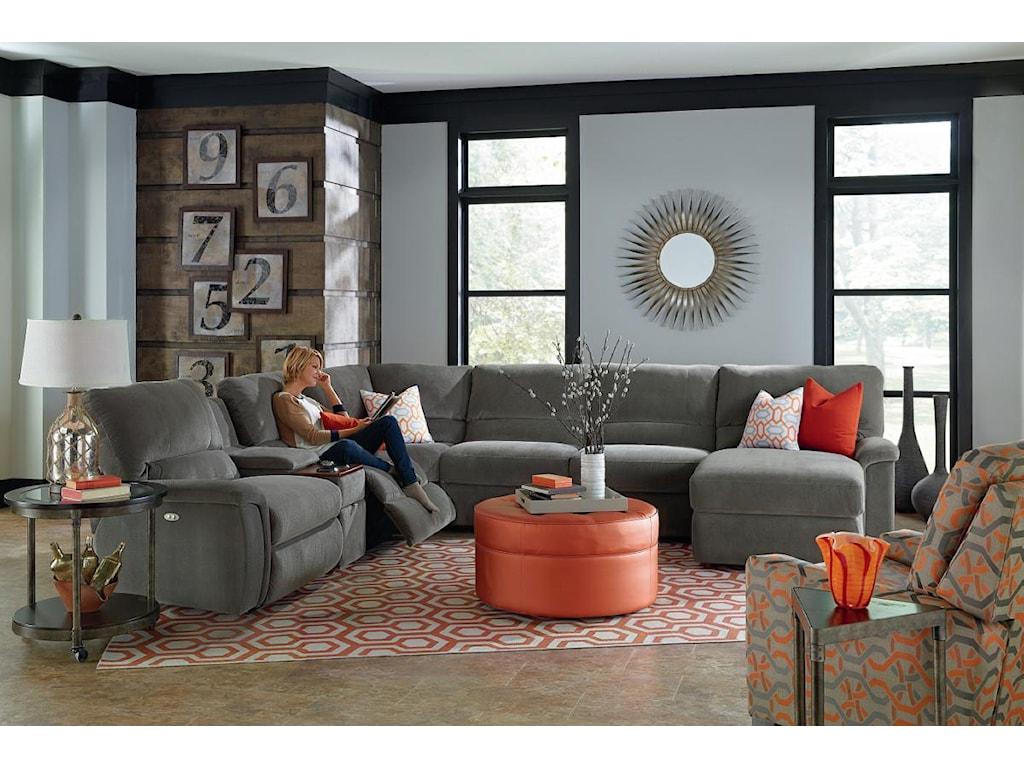 La-Z-Boy ASPEN7 Pc Reclining Sectional Sofa w/ Cupholders