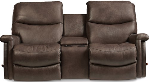 La-Z-Boy Baylor LZB Casual Wall Saver Reclining Loveseat with Drink Storage Console