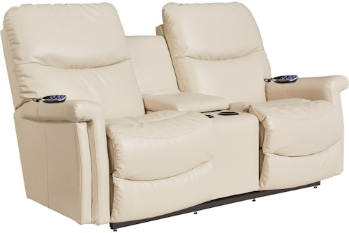 La-Z-Boy Baylor LZB Casual Power Reclining Wall Saver Loveseat with Drink Console, Power Head and Lumbar