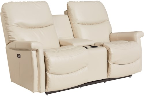 La-Z-Boy Baylor LZB Casual Power Wall Saver Reclining Loveseat with Drink Storage Console