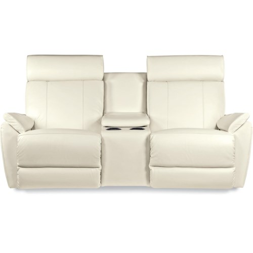 La-Z-Boy Beckett Contemporary Power-Recline-XRw™ Full Reclining Loveseat with Cupholder and Storage Console