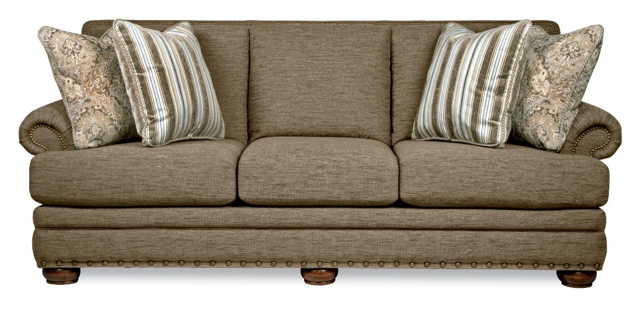 La Z Boy Sofa BRENNAN Traditional Sofa with Comfort Core Cushions and Two Sizes of  Nailhead by La-Z-Boy