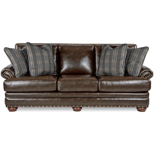 La-Z-Boy BRENNAN Traditional Sofa with Comfort Core Cushions and Two Sizes of Nailhead