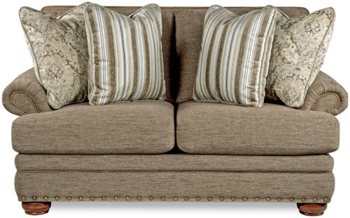 La Z Boy Brennan Traditional Loveseat With Comfort Core Cushions And Two Sizes Of Nailhead