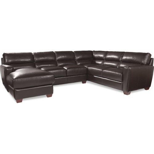 3pc Sectional With Chaise Of La Z Boy Brody Three Piece Contemporary Leather Sectional