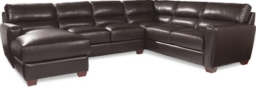 La-Z-Boy BRODY Three Piece Contemporary Leather Sectional Sofa with LAF Chaise
