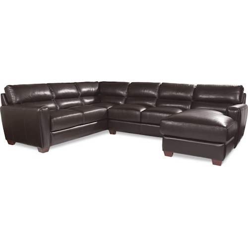 La-Z-Boy BRODY Three Piece Contemporary Leather Sectional Sofa with RAF Chaise