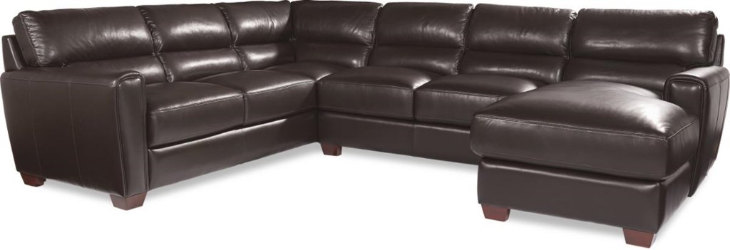 La Z Boy Brody Three Piece Contemporary Leather Sectional Sofa With