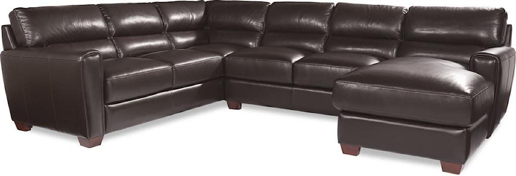La Z Boy BRODY Three Piece Contemporary Leather Sectional Sofa