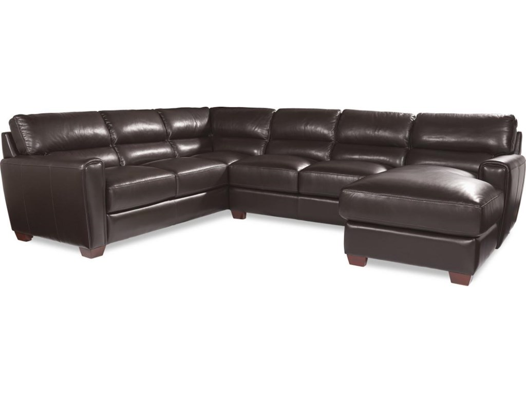 La-Z-Boy BRODY Three Piece Contemporary Leather Sectional Sofa with ...