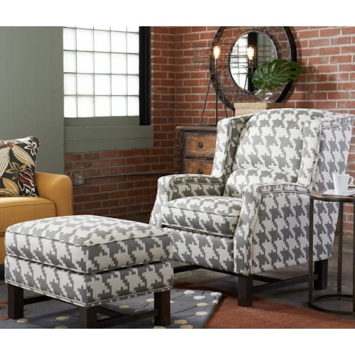La-Z-Boy Chairs Cosmopolitan Transitional Wing Chair and Ottoman with Nailhead Studs