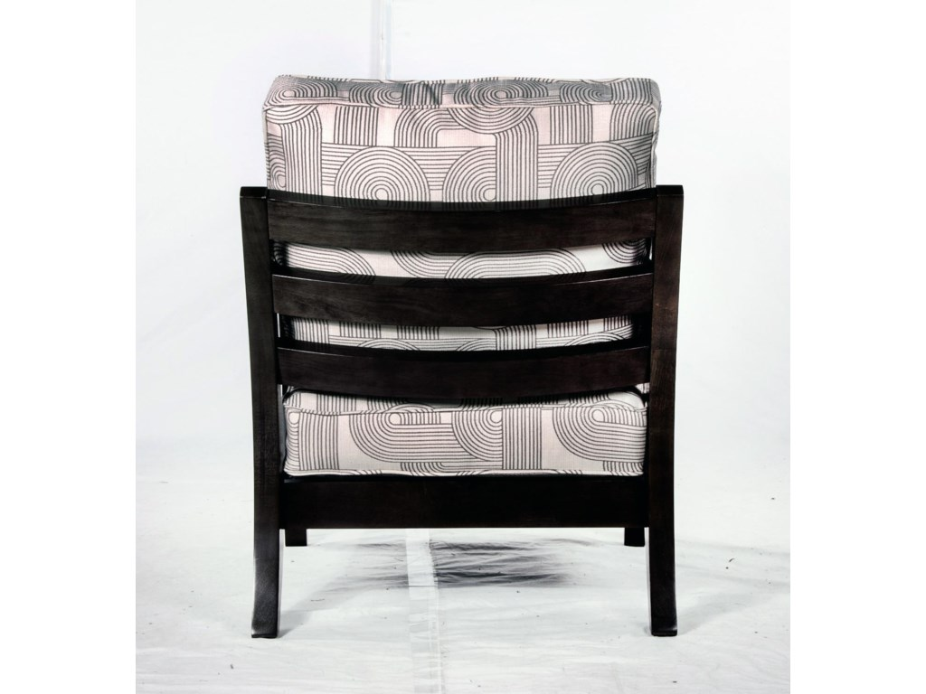 Exposed Wood Back of Chair Shown with Alternative Fabric and Wood Finish