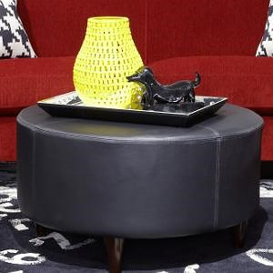 La-Z-Boy Chairs Loop Round Cocktail Ottoman with Topstitch Detailing