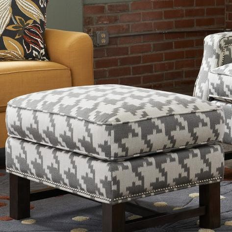La-Z-Boy Chairs Cosmopolitan Ottoman with Nailheads and Exposed Wood Trim