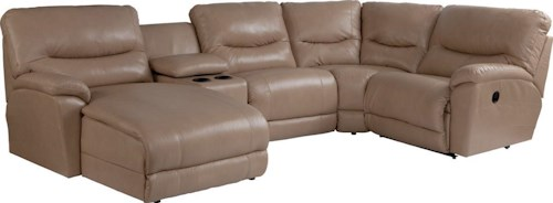 La-Z-Boy Dawson Casual Five Piece Reclining Sectional Sofa with RAS Chaise