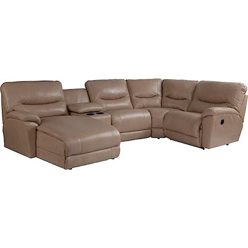 La-Z-Boy Dawson Casual Five Piece Reclining Sectional Sofa with RAS Chaise
