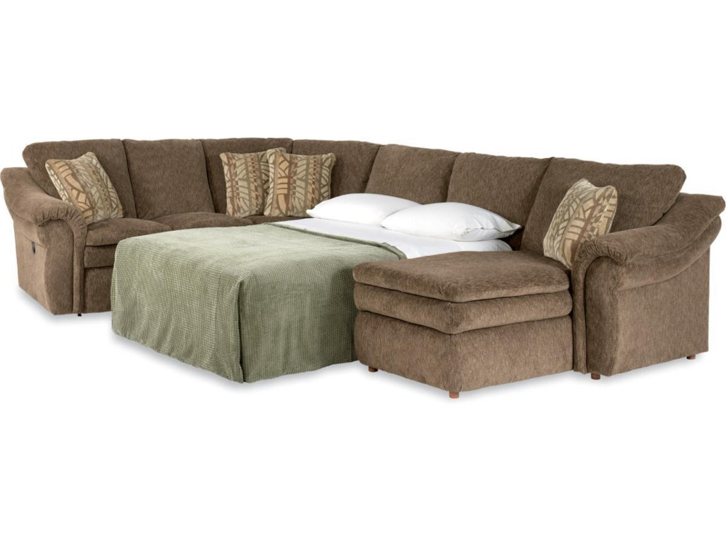 La Z Boy Devon 4 Piece Sectional Sofa With Ras Chaise And Full Sleeper Gill Brothers Furniture Reclining Sofas