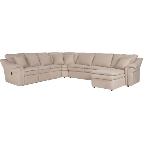 La-Z-Boy Max 5 Piece Power Reclining Sectional with Left Arm Chaise and 2 Recliners