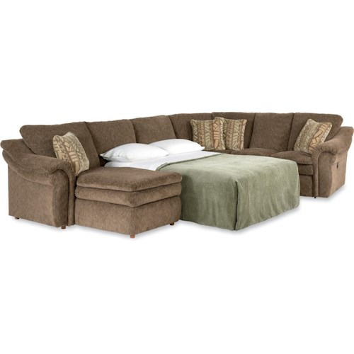 La-Z-Boy Max 4 Piece Sectional Sofa with RAS Chaise and Full Sleeper