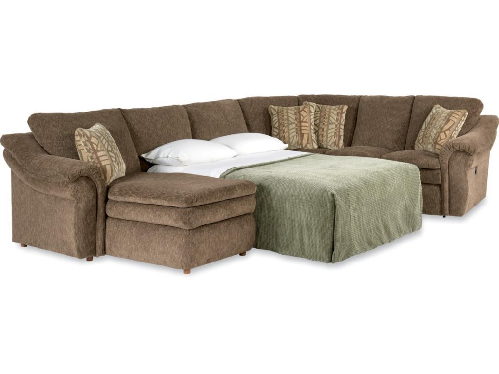 La-Z-Boy Devon 4 Piece Reclining Sectional Sofa w/ Sleeper