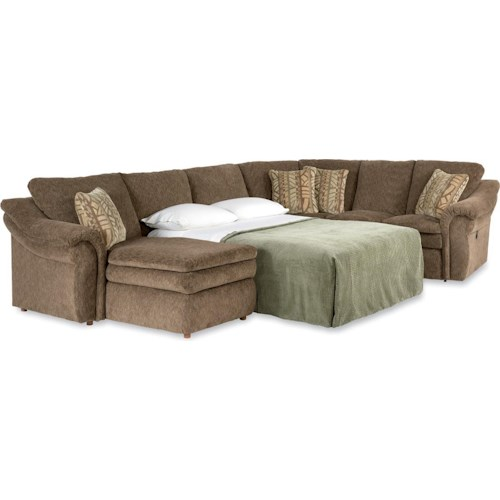 La-Z-Boy Devon  4 Piece Sectional Sofa with RAS Chaise and Full Sleeper
