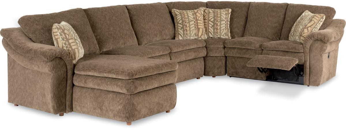 Picture of: La Z Boy Devon 4 Piece Sectional Sofa With Ras Chaise And Full Sleeper Rune S Furniture Reclining Sectional Sofas