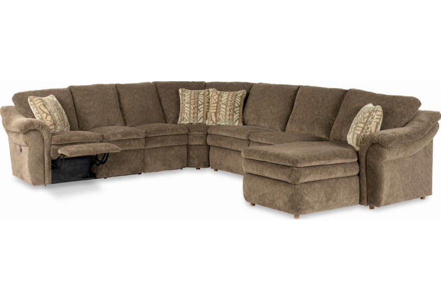 La Z Boy Devon 5 Piece Sectional With Las Chaise And Power Recline Loveseat Sparks Homestore Reclining Sectional Sofas