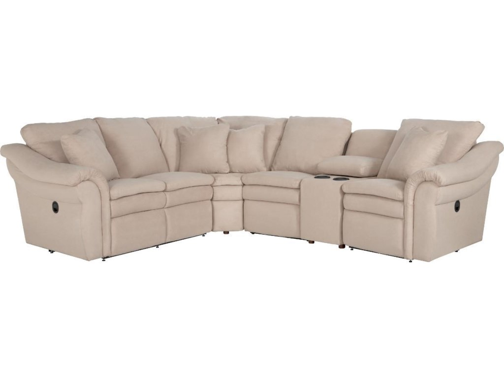 La z boy devon 5 pc power reclining sectional w cupholders