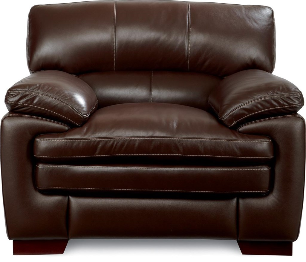 La Z Boy Dexter Casual Stationary Chair With Pillow Top Seat And  ~ Leather Sofa Pillow Top Arms