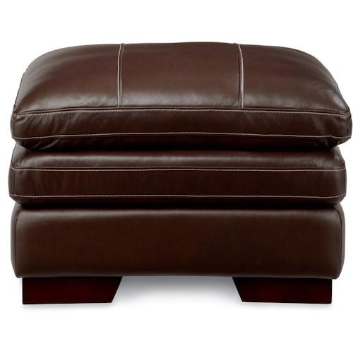 La-Z-Boy Dexter Casual Ottoman with Wood Block Legs and Pillow Top Cushion