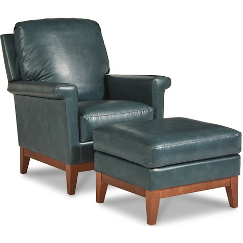 La-Z-Boy Ferndale Modern Chair and Ottoman with Solid Wood Base