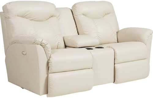 La-Z-Boy Fortune Casual Power Recline Loveseat with Cupholders and Storage Console