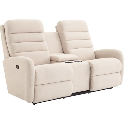La-Z-Boy Forum Contemporary Power-Recline-XRw™ Wall Saver Reclining Loveseat with Drink Storage Console