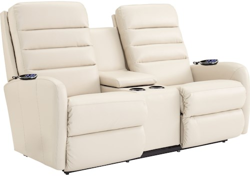 La-Z-Boy Forum Contemporary Power-Recline-XRw™+ Wall Saver Reclining Loveseat with Drink Storage Console and Power Head and Lumbar