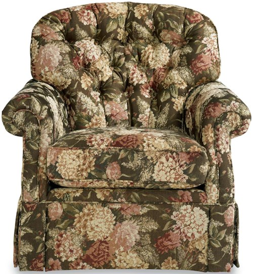 La-Z-Boy Hampden Traditional Swivel Rocker with Tufted Back and Kick-pleat Skirt
