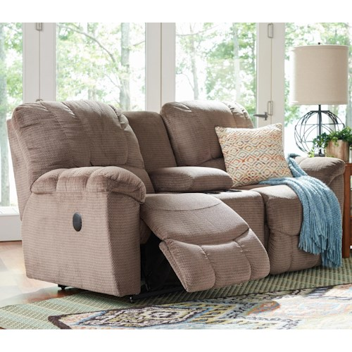 La-Z-Boy Nautilus Casual Power La-Z-Time® Full Reclining Loveseat with Middle Console and Channel-Stitched Back