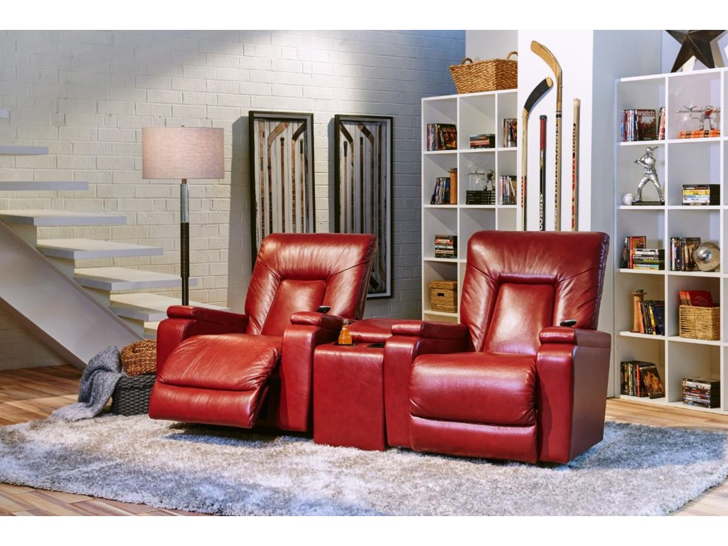 Two Recliners Shown with Storage Connector Console
