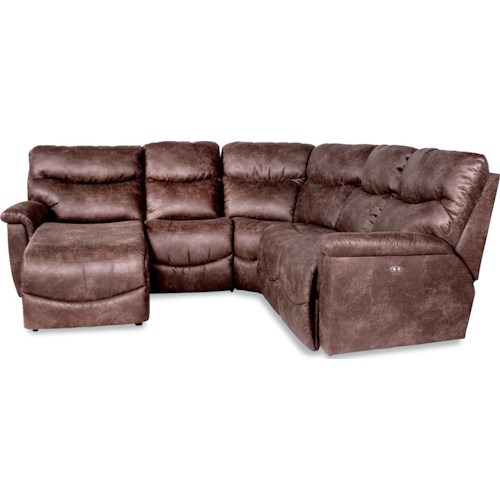 La-Z-Boy James Four Piece Reclining Sectional Sofa with RAS Reclining Chaise